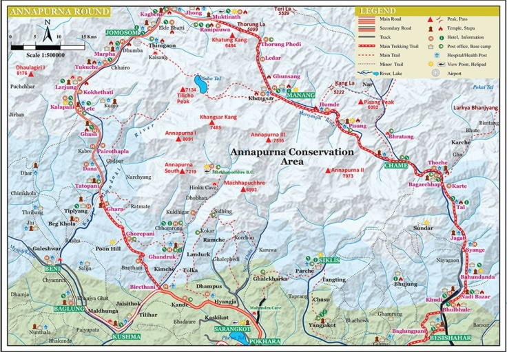 Annapurna Circuit Map